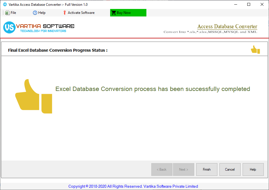 Successfully Completed database Conversion process