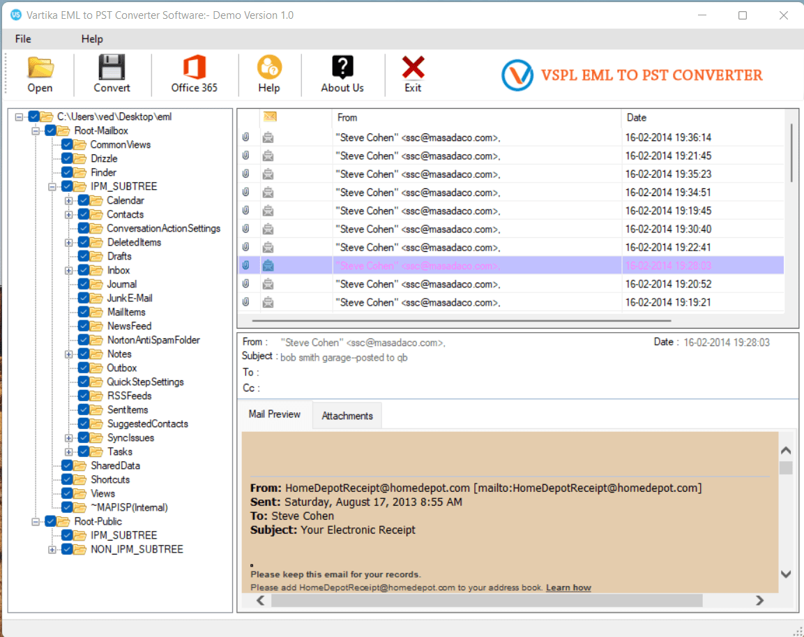 Vartika EML to PST Converter Software full screenshot