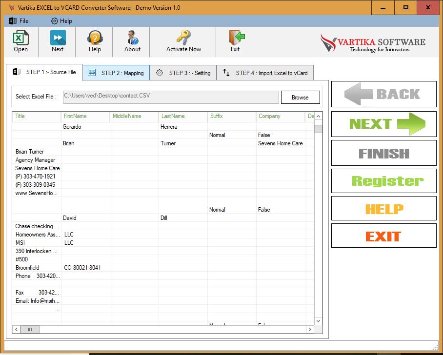 Windows 7 Vartika Excel to vCard Converter 1.0 full