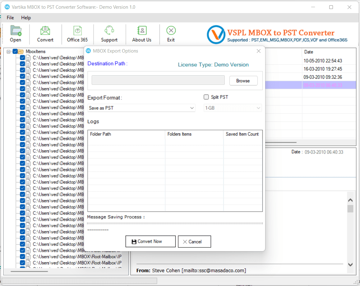 MBOX File Export Option - Outlook PST, EML, MSG Format