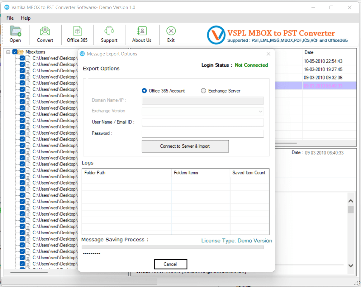 Import MBOX Items to Office365 or Live Exchange Server