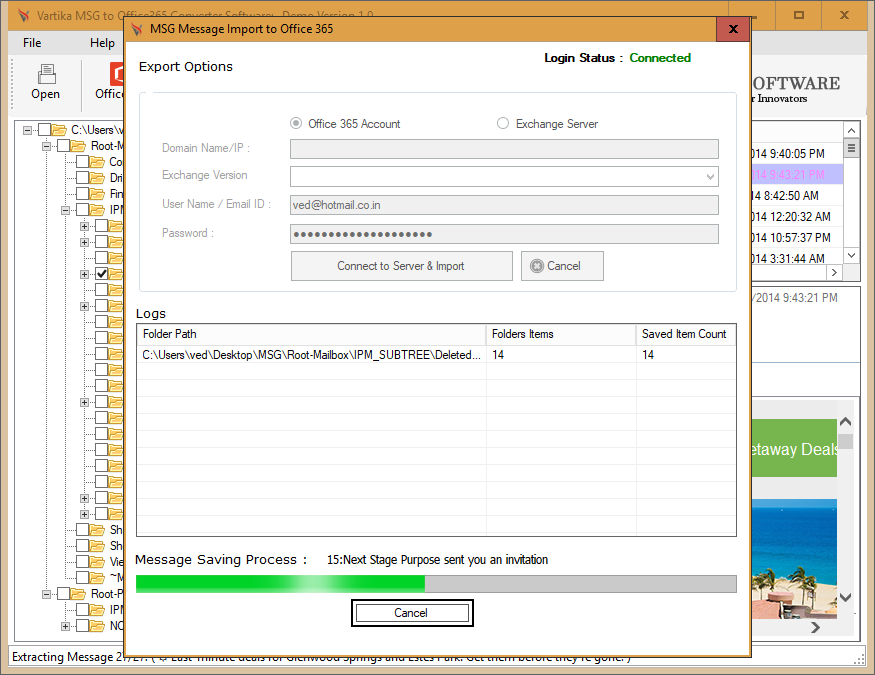 Vartika MSG to Office 365 Converter full screenshot