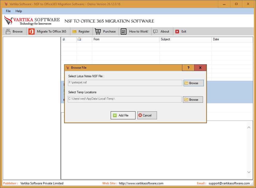 Select Lotus Notes NSF file