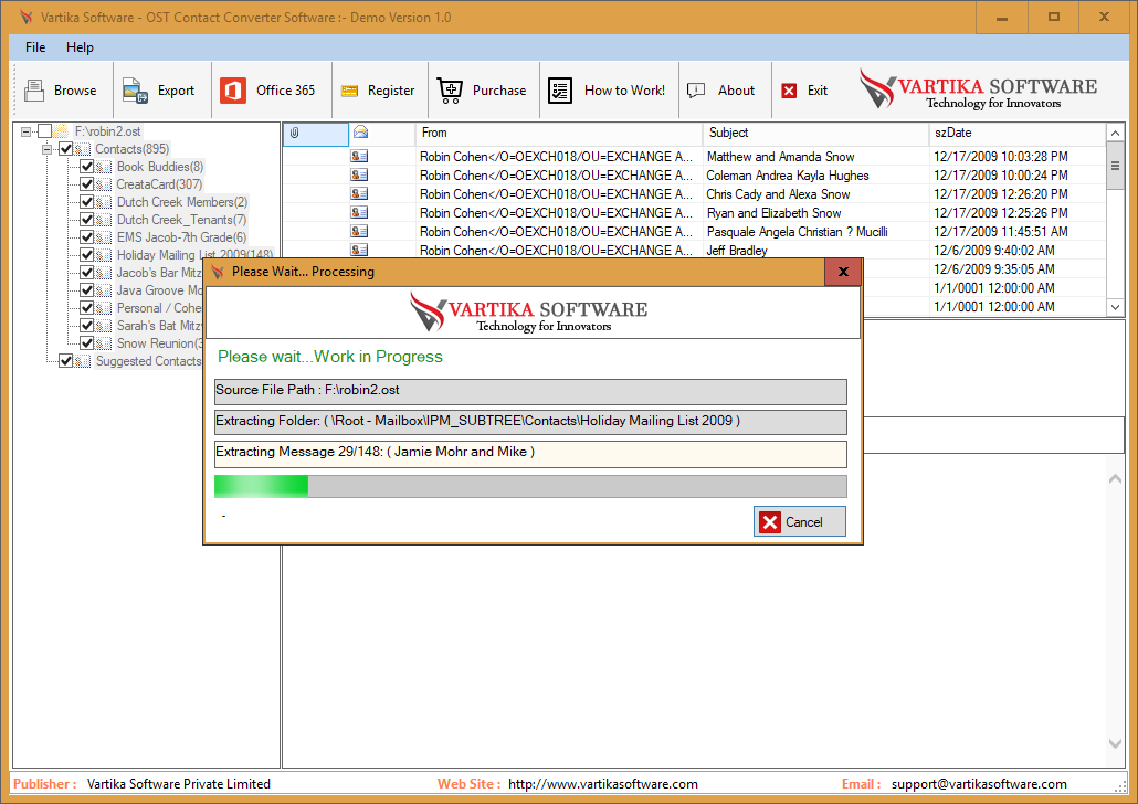 Vartika OST Contact Converter full screenshot