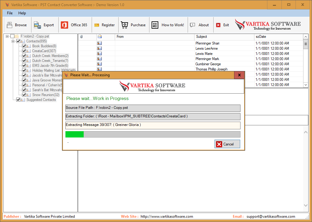 Vartika PST Contact Converter Software to recover PST Contacts