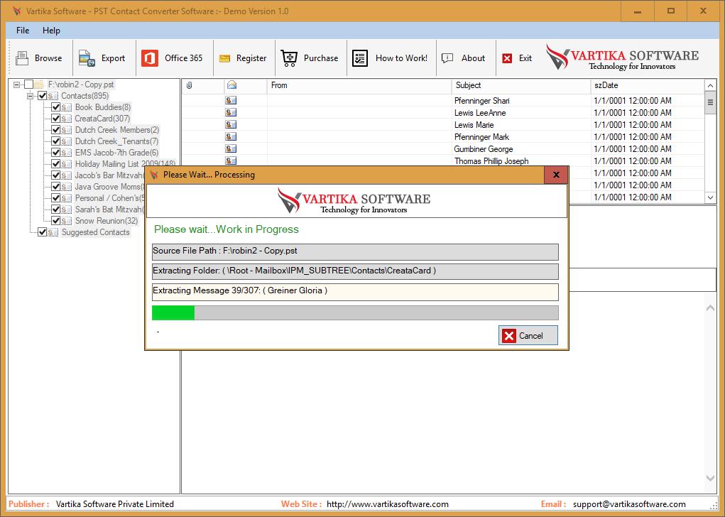 Vartika PST Contact Converter full screenshot