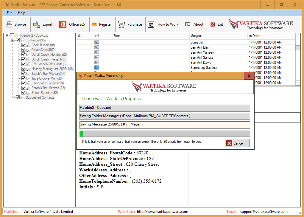 Migrate PST File Contact: Saving Message Selected Export Options