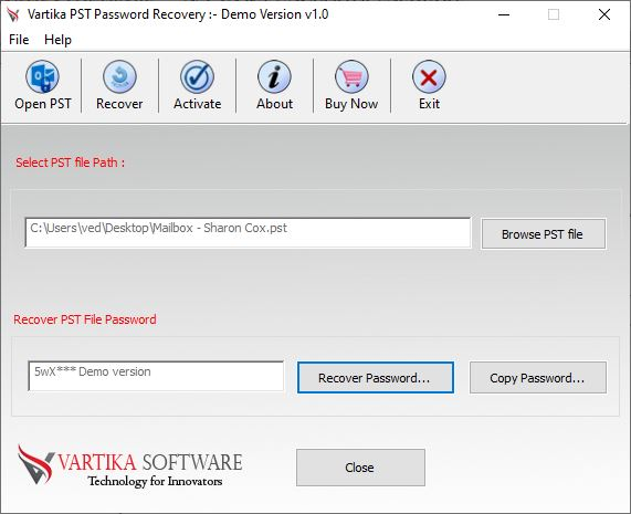 Recovered Outlook PST File Password