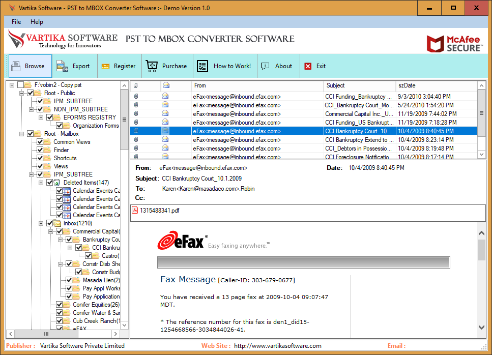 Vartika PST to MBOX Converter Software 1.0