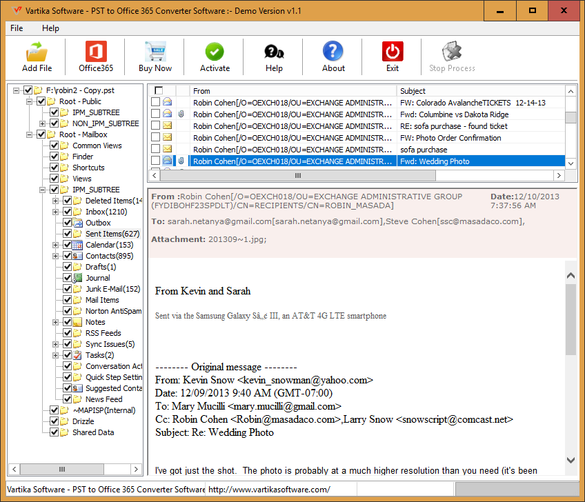 Vartika PST to Office 365 Converter
